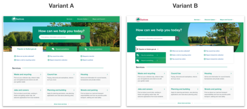 Side by side comparison of two variations of the homepage